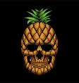 pineapple skull head vector image