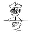 pirate businessman with agreement or contract vector image