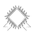 rhombus frame with leaves icon vector image vector image