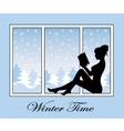 romantic winter time vector image vector image
