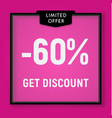 sale 60 percent off get discount website button vector image vector image