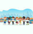 schoolchildren pupils cute kids flat vector image vector image