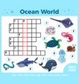 sea animals crossword composition vector image