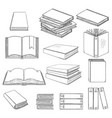 set black sketch books vector image vector image