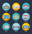 set modern colorful flat buildings icons vector image