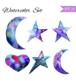Set of Colorful watercolor star and moon icon vector image vector image