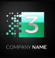 silver number three logo symbol in green square vector image vector image