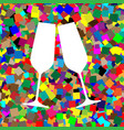 sparkling champagne glasses white icon on vector image