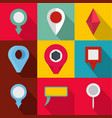 spot icons set flat style vector image vector image