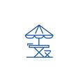 table chair and sun umbrella line icon concept vector image