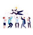 team tossing man in air business people group vector image vector image