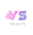 vs v s zebra lines letter logo design with vector image