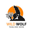 wild wolf logo design template vector image vector image