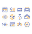 winner ticket mail and money bag icons set vector image vector image