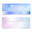 winter banners with realistic torn paper borders vector image vector image