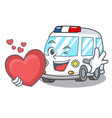 with heart ambulance mascot cartoon style vector image