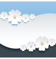 Greeting or invitation card with 3d flowers sakura vector image