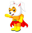 a cute cartoon superhero easter bunny vector image vector image