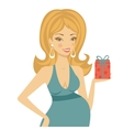 Beautiful mom to be holding gift box vector image vector image