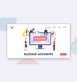 blocked account landing page template tiny vector image