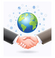 business handshake with globe earth background vector image