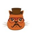 cat hipster style icon vector image