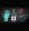 chalk drawn set protection items vector image vector image