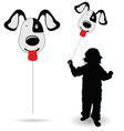 child holding balloon silhouette vector image