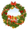 Christmas Wreath with Background vector image vector image