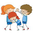doodle children playing on white background vector image
