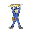 electrician holding electric lightning bolt vector image vector image