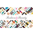 flat style makeup and skincare background with vector image vector image