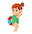 girl with flotation ring vector image