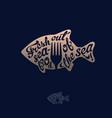 golden fish silhouette fork sea restaurant fishing vector image