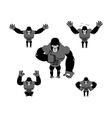 Gorilla set poses Expression of Emotions monkey vector image vector image