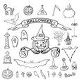 hand drawn doodle cartoon elements of halloween vector image vector image