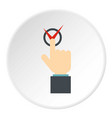 hand finger pressing button with red tick icon vector image vector image