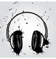 Headphones grunge style vector image vector image