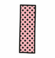 i alphabet letter with black polka dots on pink vector image vector image