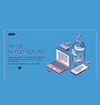 invest in technology isometric landing page banner vector image vector image