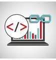 laptop coding graphs link web vector image vector image