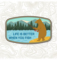 life is better when you fish summer camp badge vector image