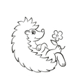 Little cute hedgehog lays and smiles vector image vector image