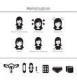 menstruation symptom icons set monochrome vector image vector image
