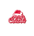 merry christmas text festive calligraphic vector image vector image