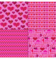 mod valentines day patterns on pink vector image vector image