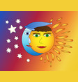 moon and sun friendship vector image