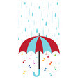 musical background with umbrella and rain flat vector image vector image