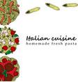 pasta in cartoon style vector image vector image