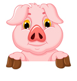 pig cartoon with blank board vector image vector image